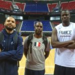 Evan Fournier, Moustapha Fall  et Ruddy Nlelhomme en équipe de France
