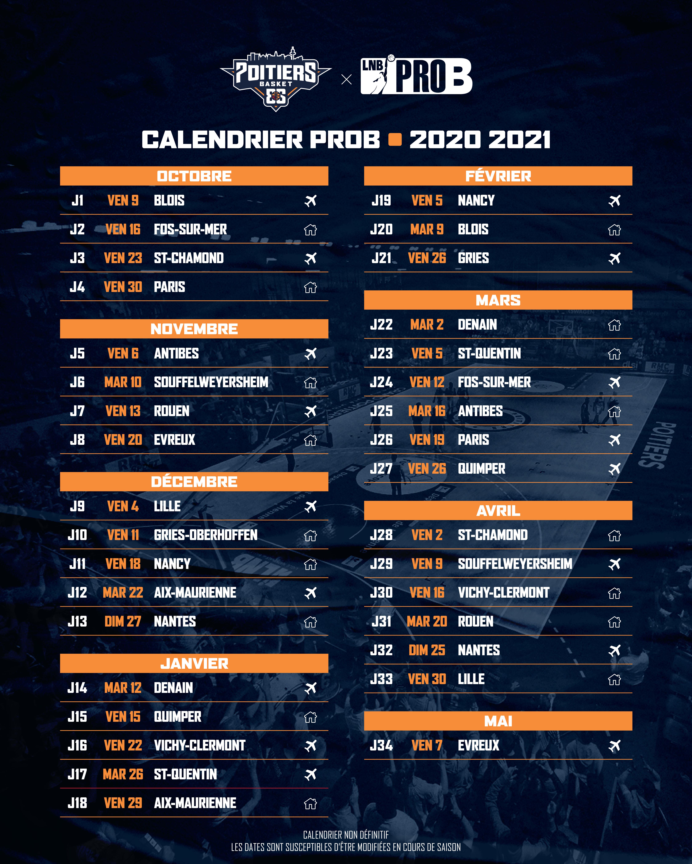 Le calendrier de la saison 2020 2021 dévoilé   PB86